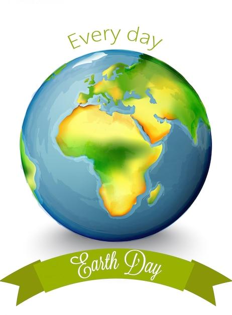 Dia da terra em aquarela com o continente de áfrica no centro Vetor Premium