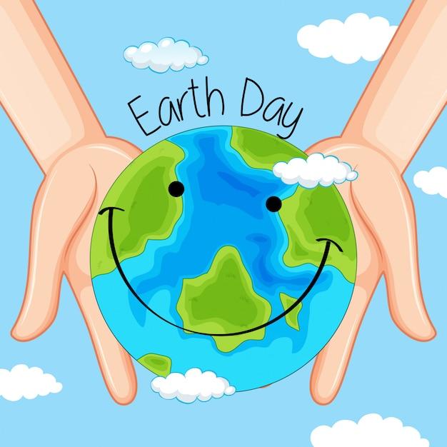 Dia da terra nas mãos Vetor Premium