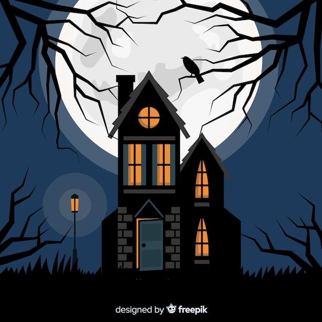 Dia das bruxas assombrada casa com design plano Vetor grátis