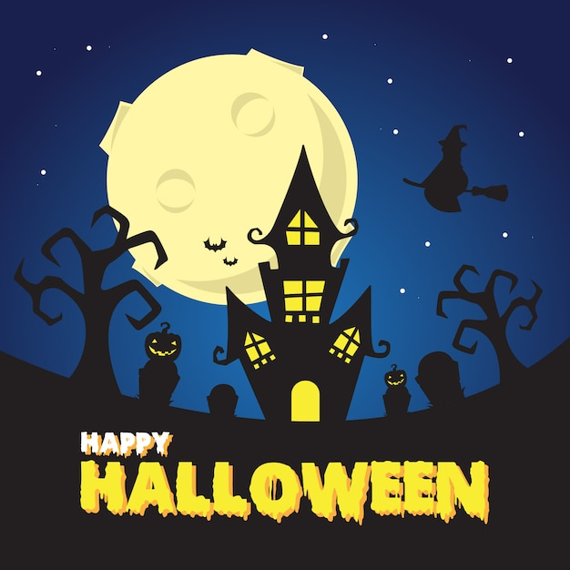Dia das bruxas assustador noite na ilustração de castelo de bruxa Vetor Premium