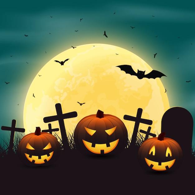 Dia das bruxas com abóboras no cemitério e um brigh Vetor Premium