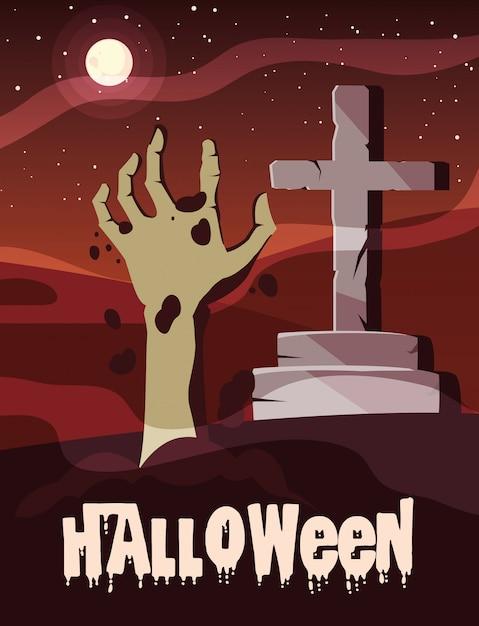 Dia das bruxas com mão de zumbi e cruz de pedra Vetor Premium