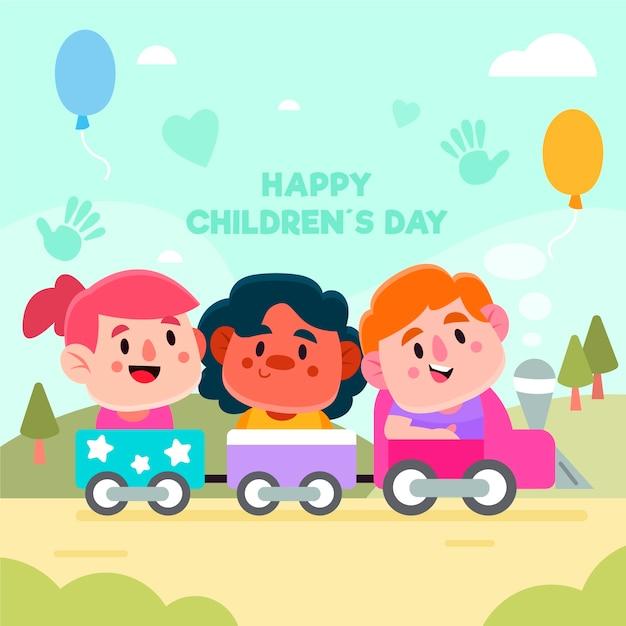 Dia das crianças com crianças brincando lá fora em um trem de brinquedo Vetor grátis