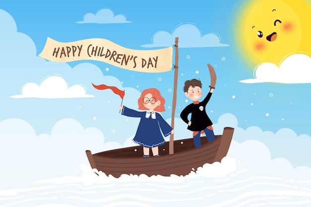 Dia das crianças desenhadas à mão brincando de piratas Vetor grátis