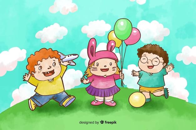 Dia das crianças em aquarela brincando lá fora Vetor grátis
