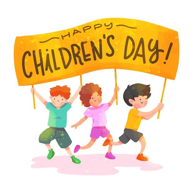 Dia das crianças em aquarela Vetor grátis