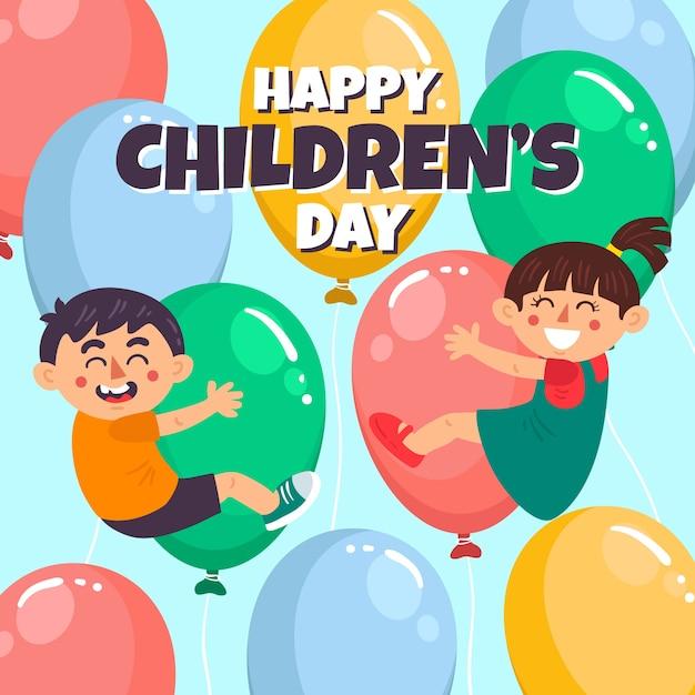 Dia das crianças em design plano Vetor grátis