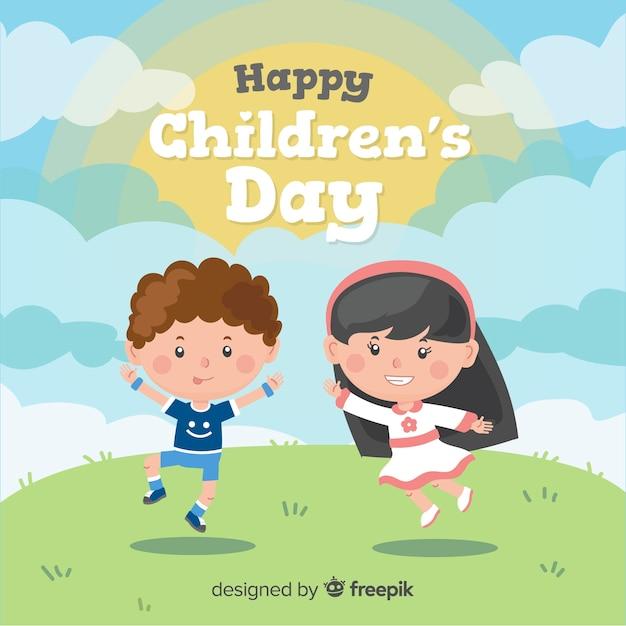 Dia das crianças mão desenhada fundo de crianças Vetor grátis