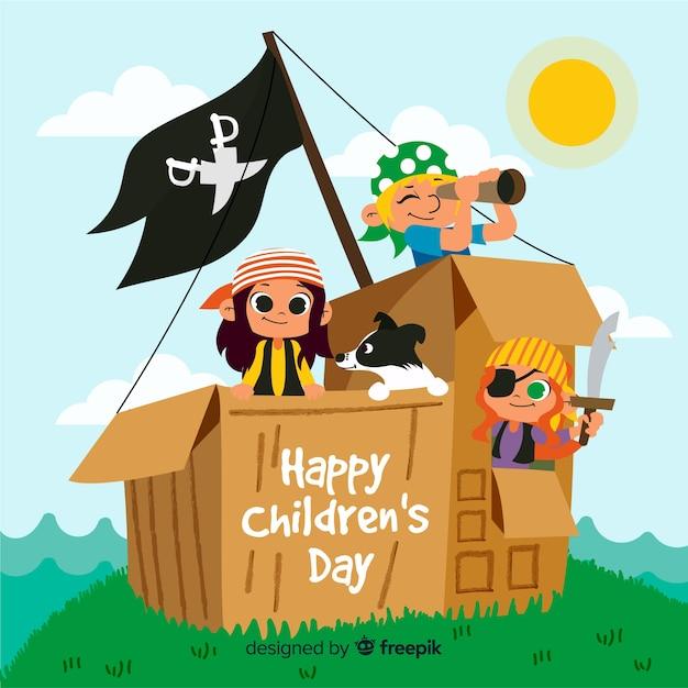 Dia das crianças mão fundo desenhado Vetor grátis
