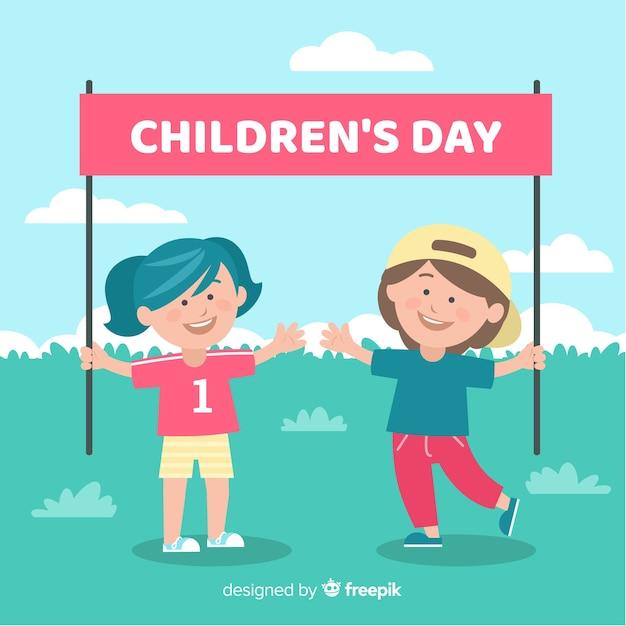 Dia das crianças plana com fundo de crianças Vetor grátis