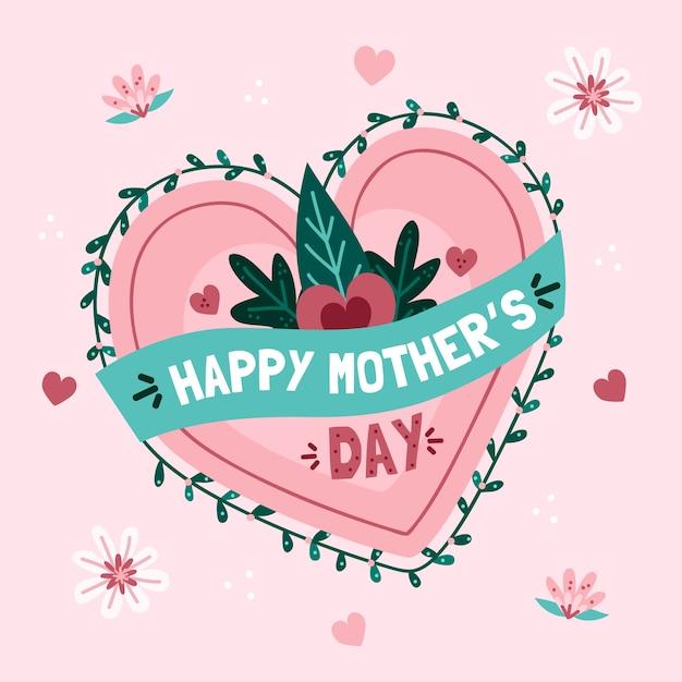 Dia das mães com coração e folhas Vetor grátis
