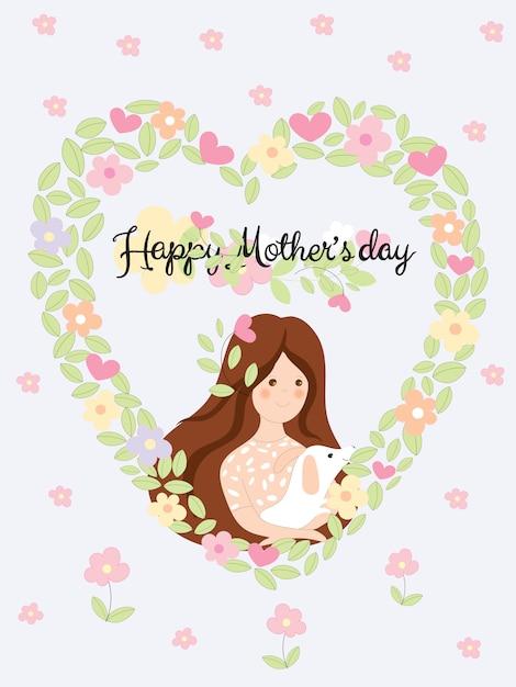Dia das mães feliz com linda garota segurando o cão em flores e folhas no fundo de forma de coração Vetor Premium