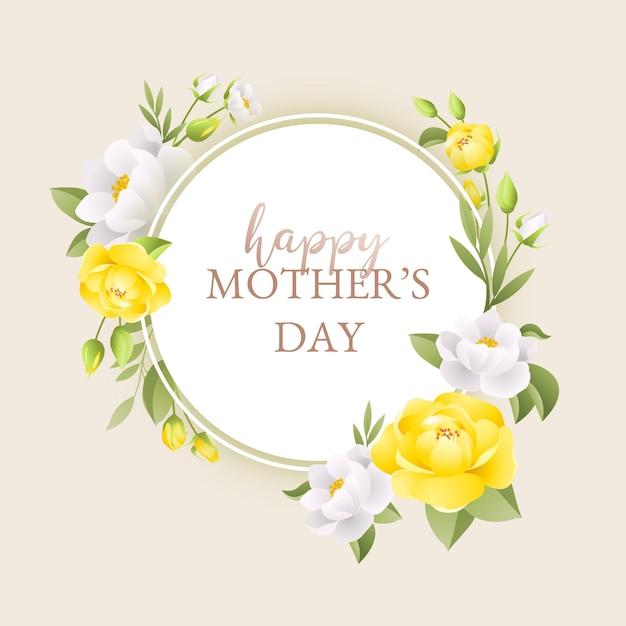 Dia das mães lindas flores amarelas Vetor grátis