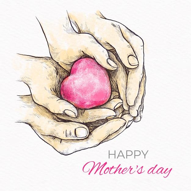 Dia das mães mão estilo desenhado Vetor grátis