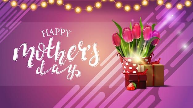 Dia das mães saudação cartão rosa com guirlanda Vetor Premium