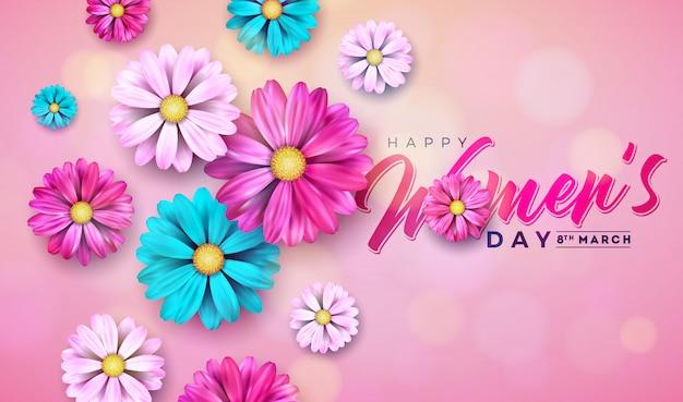 Dia das mulheres floral greeting card ilustração com flor Vetor Premium