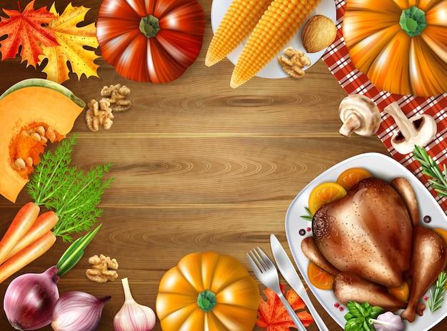 Dia de ação de graças ainda vida composição fundo com pratos festivos na ilustração em vetor tabela turquia turquia milho Vetor grátis