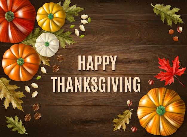 Dia de ação de graças multicolorido cartão com mensagem grande feliz ação de graças na ilustração vetorial de mesa de madeira Vetor grátis