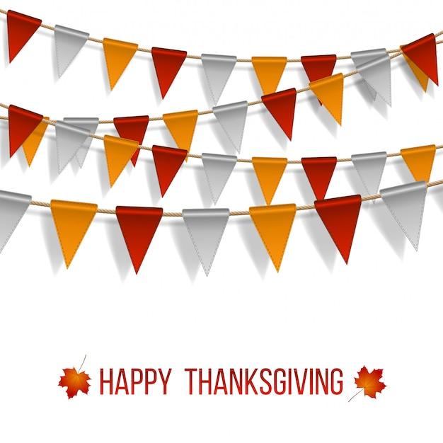 Dia de ação de graças, sinalizadores guirlanda em fundo branco. guirlandas de bandeiras vermelhas brancas e amarelas e duas folhas de outono de bordo. ilustração. Vetor Premium