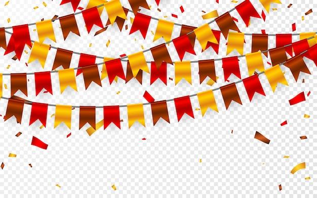 Dia de ação de graças, sinalizadores guirlanda em fundo transparente. guirlandas de bandeiras amarelas marrons vermelhas e confetes de papel alumínio. Vetor Premium