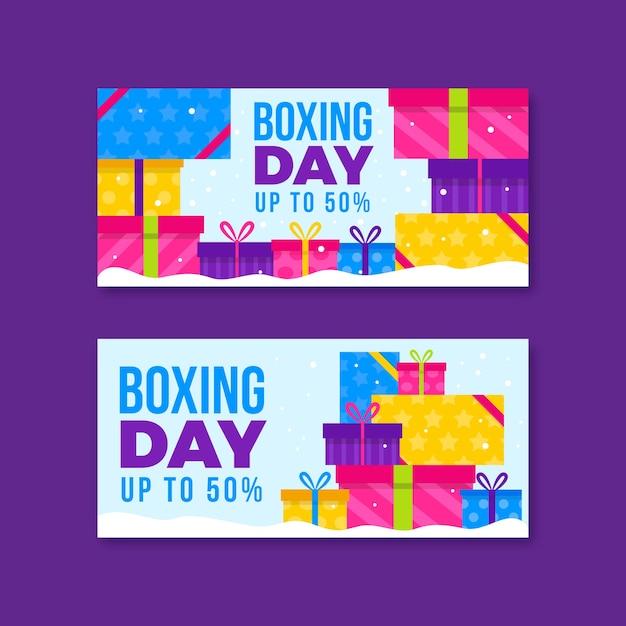 Dia de boxe venda banners design plano Vetor grátis