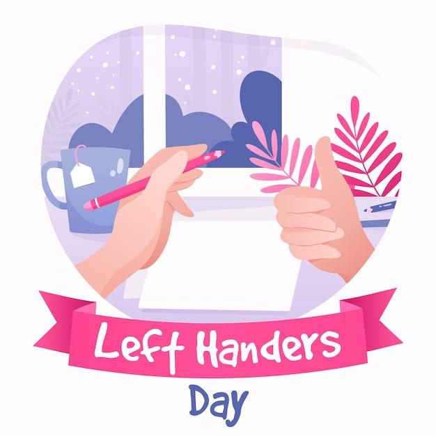 Dia de canhotos com polegares para cima e mão segurando a caneta Vetor grátis