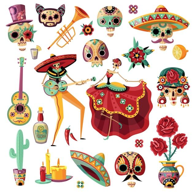 Dia de feriado mexicano de mortos definir música étnica e dança máscaras decorativas velas flores Vetor grátis