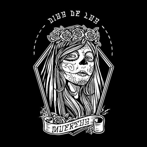 Dia de los muertos menina pintura de rosto Vetor Premium