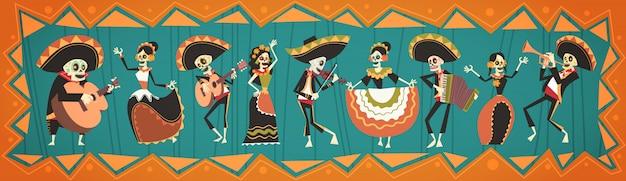 Dia de morto tradicional dia das bruxas mexicano dia de los muertos feriado festa decoração banner convite Vetor Premium