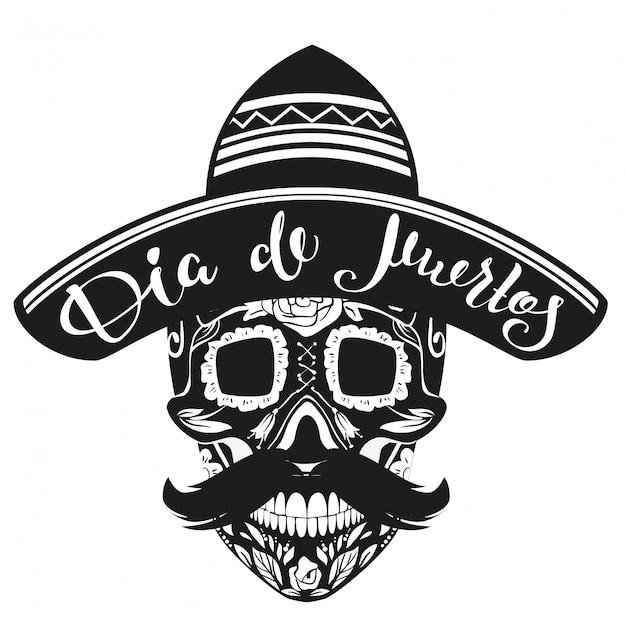 Dia de muertos dia dos mortos. crânio preto no chapéu mexicano Vetor Premium
