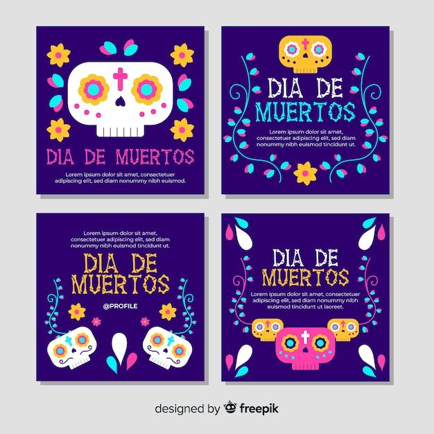 Día de muertos instagram post collection Vetor grátis