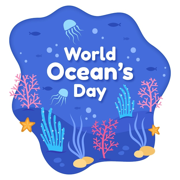 Dia de oceanos mão desenhada vida marinha Vetor grátis