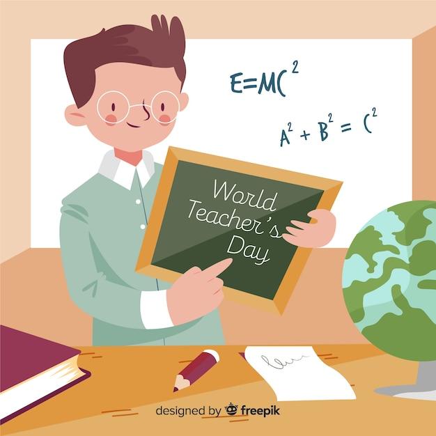 Dia de professores de mão desenhada mundo com homem mostrando um quadro-negro Vetor grátis