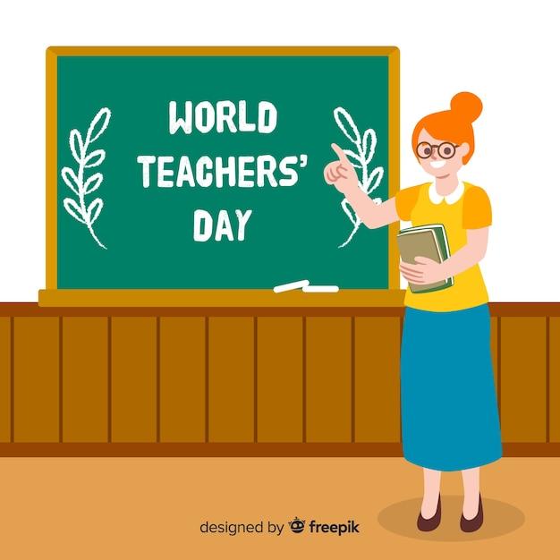 Dia de professores de mão desenhada mundo com mulher Vetor grátis
