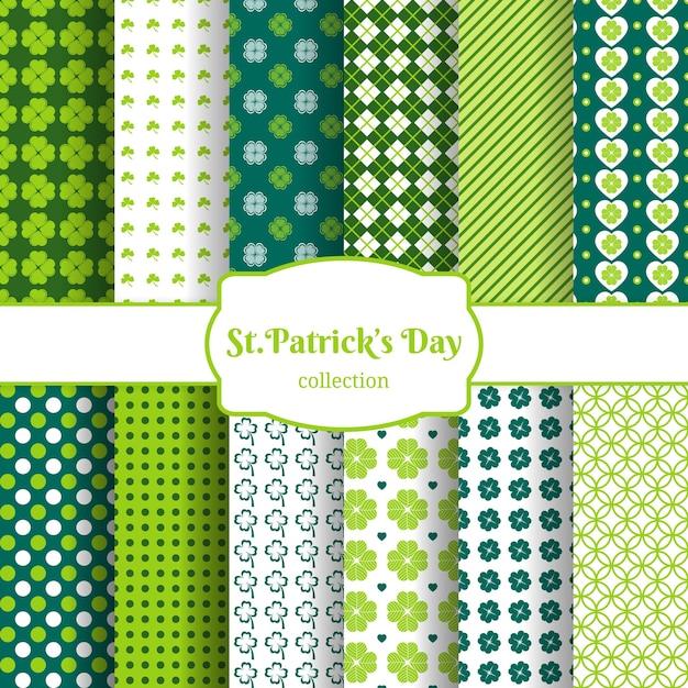 Dia de são patrício sem costura de fundo com folhas verdes de trevo Vetor grátis