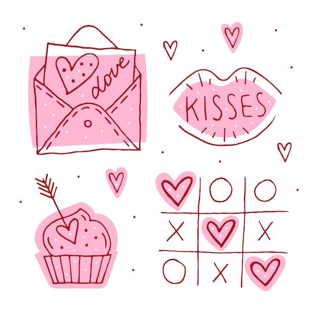 Dia de são valentim doodle conjunto de elementos, clipart, adesivos. carta de amor, beijo, bolinho, jogo da velha e corações linha artística. mão desenhada s. Vetor Premium