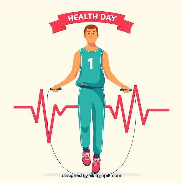 Dia de saúde, fundo, wirh, homem, exercitar, mão, desenhado, estilo Vetor grátis