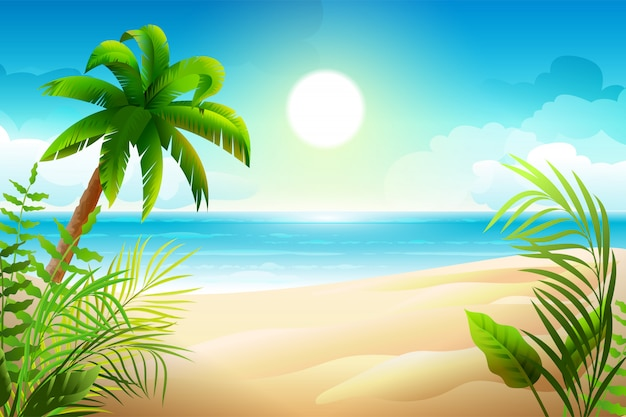 Dia de sol na praia tropical. palmeiras e férias no paraíso do mar Vetor Premium
