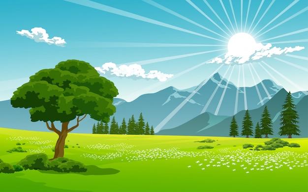 Dia de sol na zona rural Vetor Premium