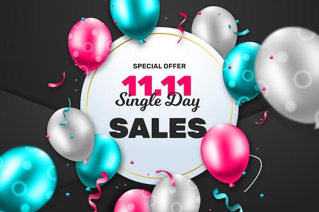 Dia de solteiros com balões realistas Vetor Premium