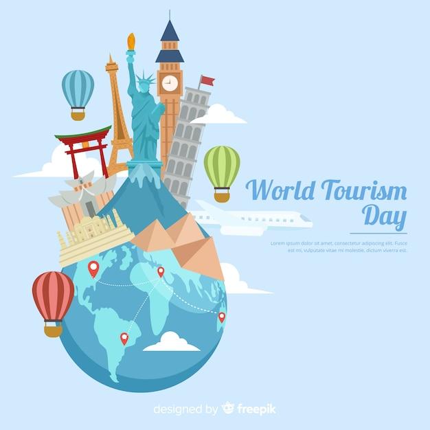 Dia de turismo com marcos e transporte) Vetor grátis