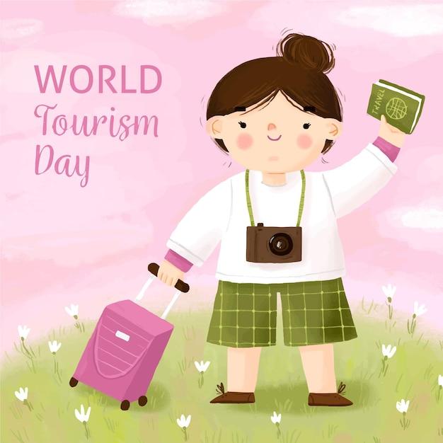 Dia de turismo desenhado à mão com garota Vetor grátis