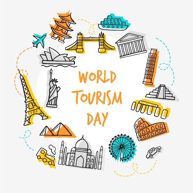 Dia de turismo desenhado de mão com marcos Vetor grátis