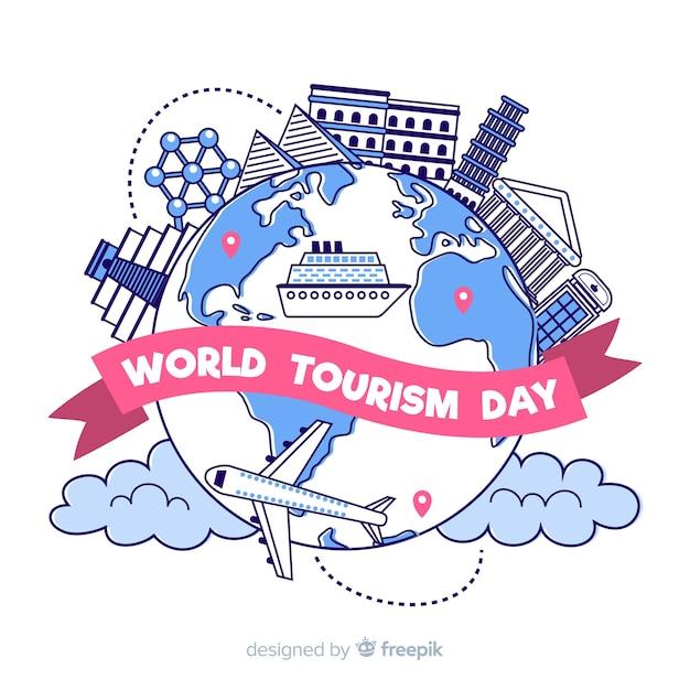 Dia de turismo mão desenhada com marcos Vetor grátis