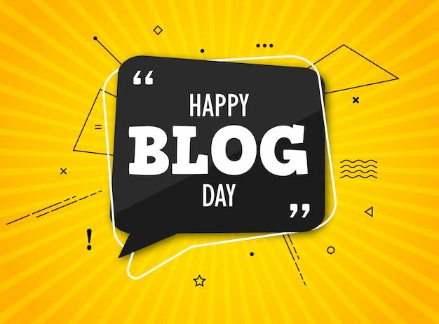 Dia do blog de férias. balão preto com citação em amarelo colorido Vetor Premium