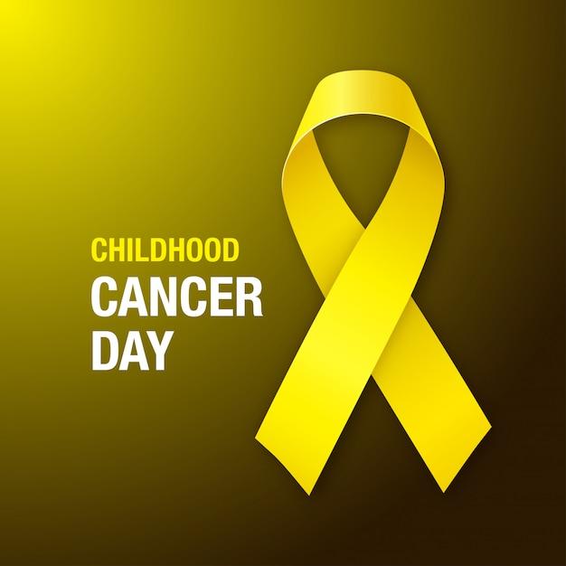 Dia do câncer infantil. fita de conscientização de câncer de infância em fundo escuro. Vetor Premium