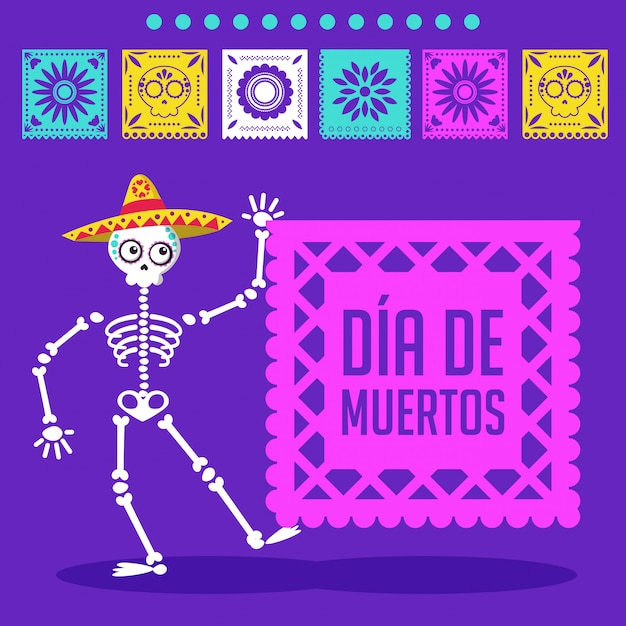 Dia do cartão morto dos desenhos animados Vetor Premium