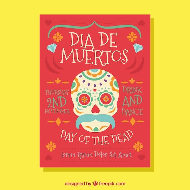 Dia do cartaz da morte com estilo adorável Vetor grátis