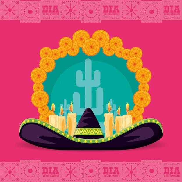 Dia do chapéu mexicano do partido morto Vetor Premium