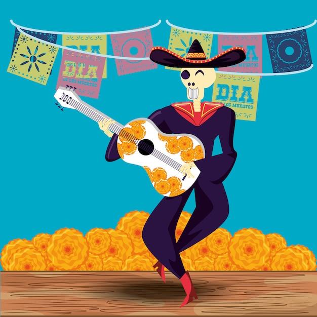 Dia do crânio de mariachi do partido morto Vetor Premium